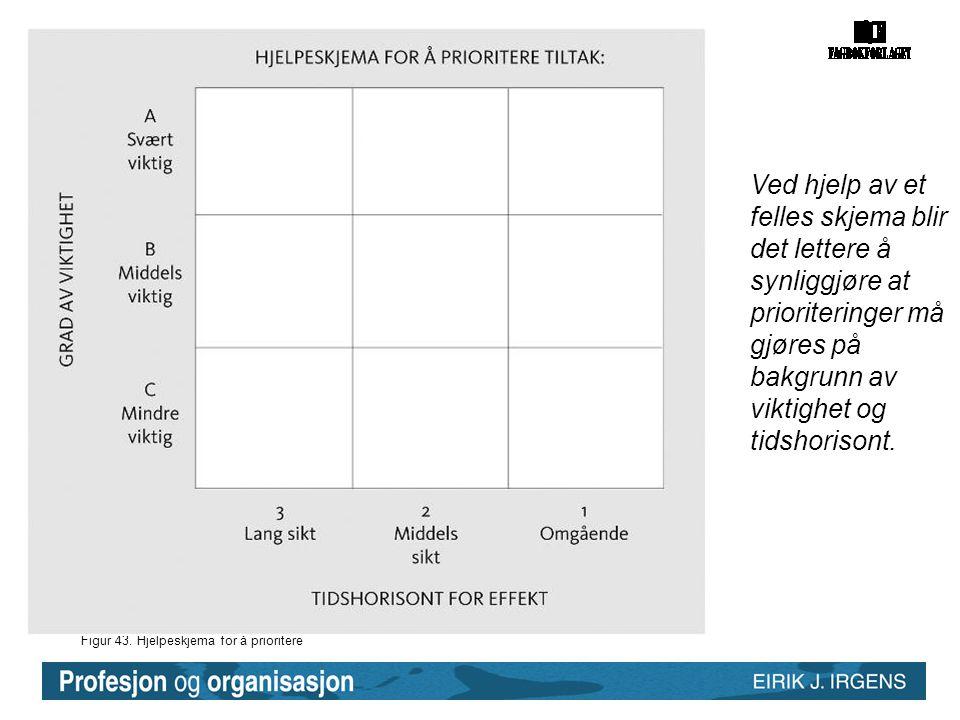 Figur 43. Hjelpeskjema for å prioritere Ved hjelp av et felles skjema blir det lettere å synliggjøre at prioriteringer må gjøres på bakgrunn av viktig