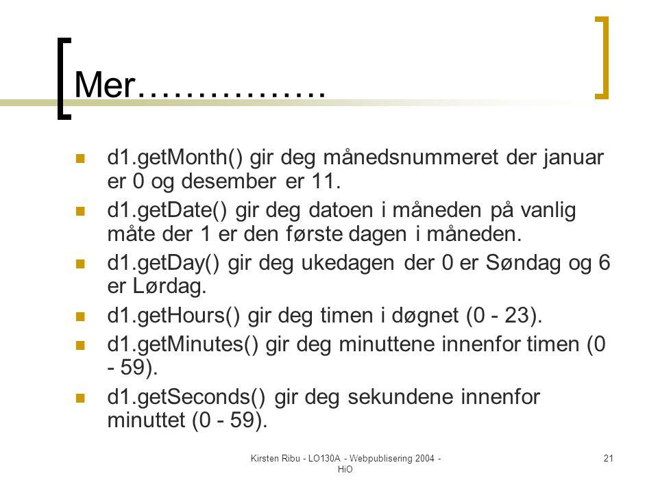 Kirsten Ribu - LO130A - Webpublisering 2004 - HiO 21 Mer…………….