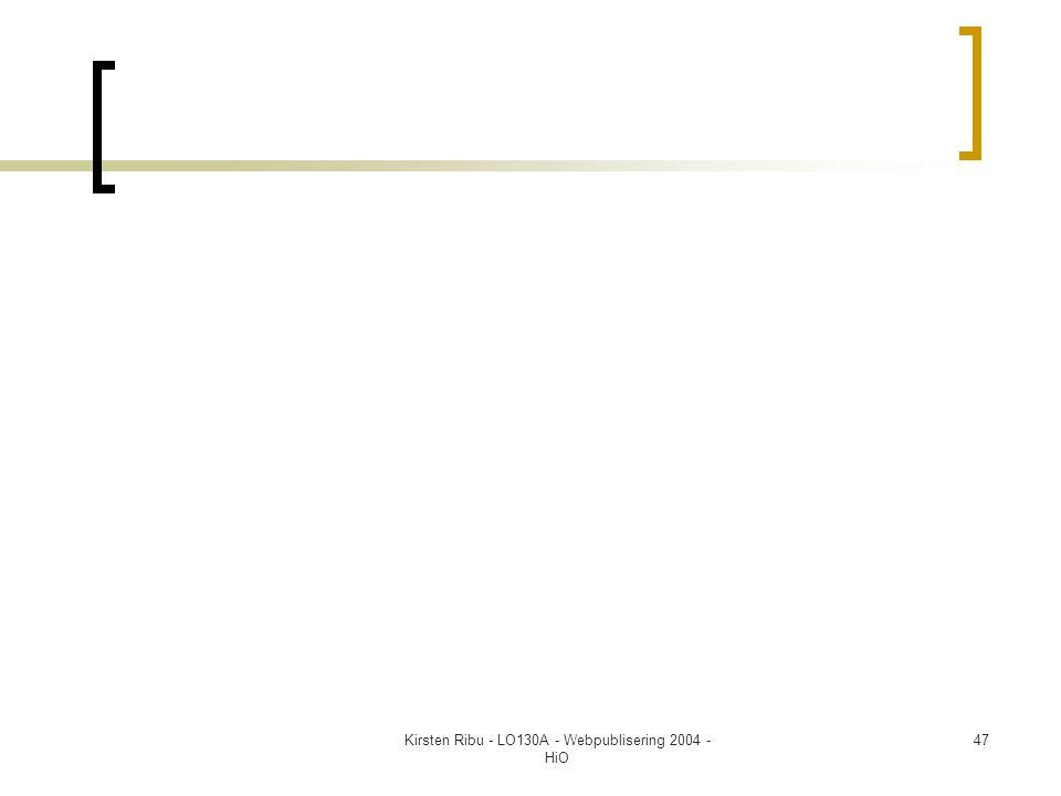 Kirsten Ribu - LO130A - Webpublisering 2004 - HiO 47