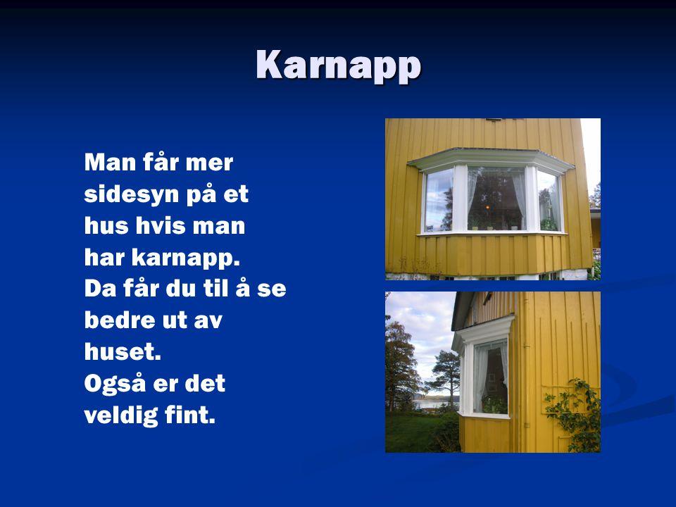 Karnapp Man får mer sidesyn på et hus hvis man har karnapp. Da får du til å se bedre ut av huset. Også er det veldig fint.