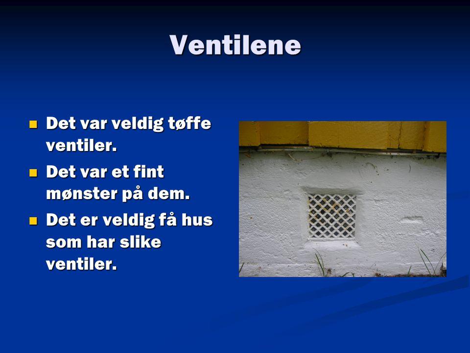 Ventilene  Det var veldig tøffe ventiler.  Det var et fint mønster på dem.  Det er veldig få hus som har slike ventiler.