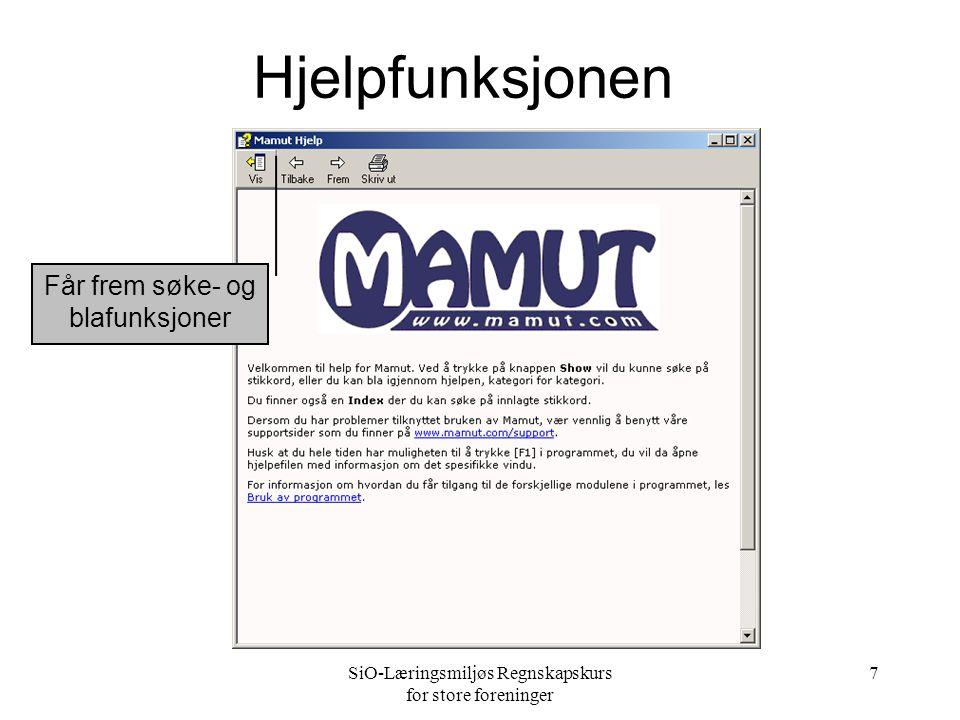 SiO-Læringsmiljøs Regnskapskurs for store foreninger 7 Hjelpfunksjonen Får frem søke- og blafunksjoner