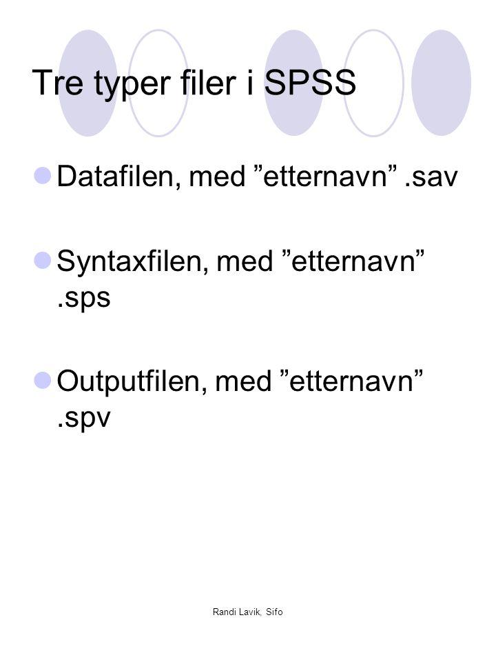 "Randi Lavik, Sifo Tre typer filer i SPSS  Datafilen, med ""etternavn"".sav  Syntaxfilen, med ""etternavn"".sps  Outputfilen, med ""etternavn"".spv"