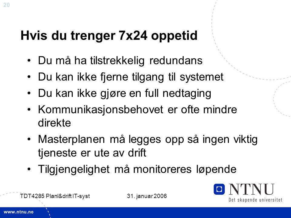 20 31. januar 2006 TDT4285 Planl&drift IT-syst Hvis du trenger 7x24 oppetid •Du må ha tilstrekkelig redundans •Du kan ikke fjerne tilgang til systemet