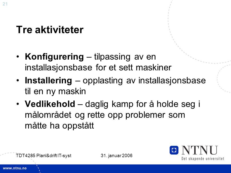 21 31. januar 2006 TDT4285 Planl&drift IT-syst Tre aktiviteter •Konfigurering – tilpassing av en installasjonsbase for et sett maskiner •Installering