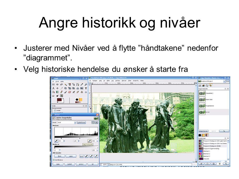 """Angre historikk og nivåer •Justerer med Nivåer ved å flytte """"håndtakene"""" nedenfor """"diagrammet"""". •Velg historiske hendelse du ønsker å starte fra"""