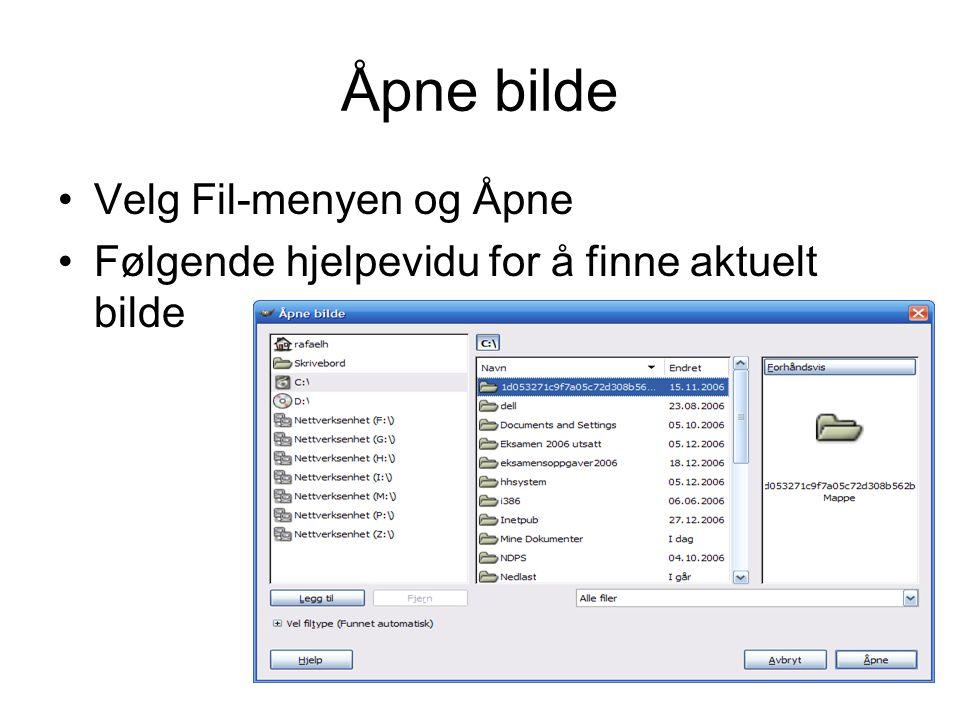 Menyer-menyen •Gir deg tilgang til alle paletter i GIMP –Lagmenyen –Histogram –Angrehistorikk –Farger –Skrifter –Et.c.