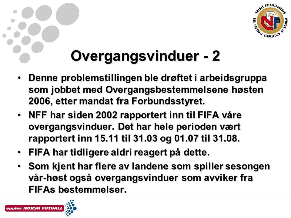 Overgangsvinduer - 3 •NFF har, i likhet med Sverige, Finland, Island, Færøyene og Russland, svart FIFA innen fristen 22.