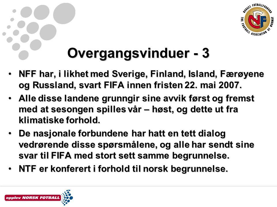 Overgangsvinduer - 4 •Det foreligger foreløpig ikke noe svar fra FIFA.