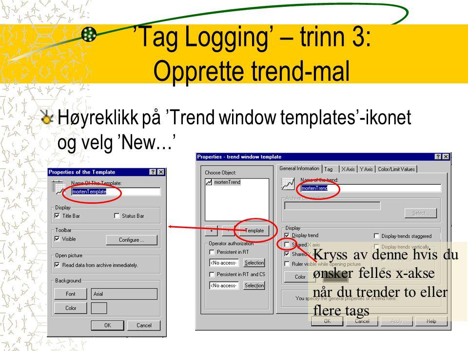 'Tag Logging' – trinn 3: Opprette trend-mal Høyreklikk på 'Trend window templates'-ikonet og velg 'New…' Kryss av denne hvis du ønsker felles x-akse n