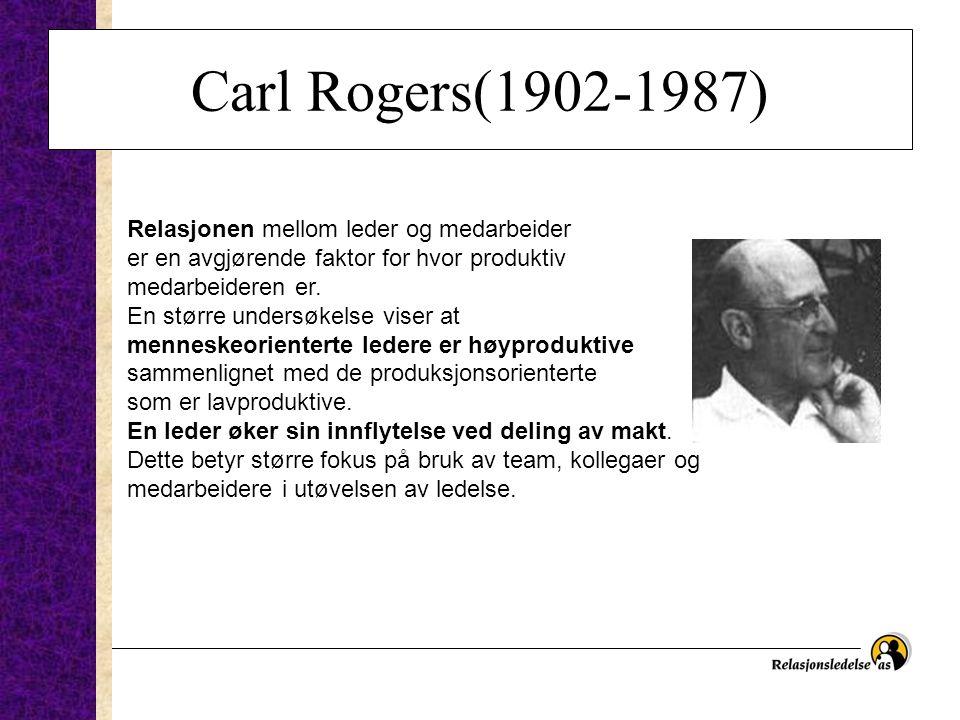 Carl Rogers(1902-1987) Relasjonen mellom leder og medarbeider er en avgjørende faktor for hvor produktiv medarbeideren er. En større undersøkelse vise