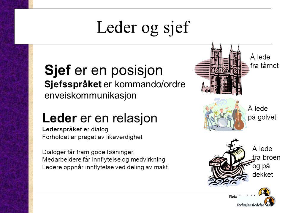 Leder og sjef Sjef er en posisjon Sjefsspråket er kommando/ordre enveiskommunikasjon Leder er en relasjon Lederspråket er dialog Forholdet er preget a