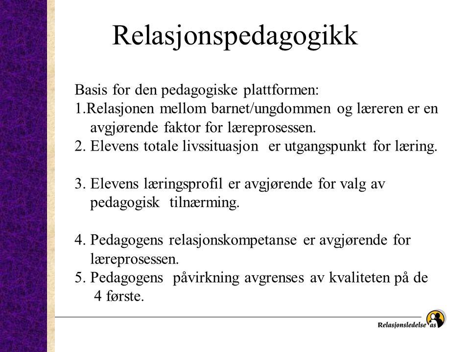 Relasjonspedagogikk Basis for den pedagogiske plattformen: 1.Relasjonen mellom barnet/ungdommen og læreren er en avgjørende faktor for læreprosessen.