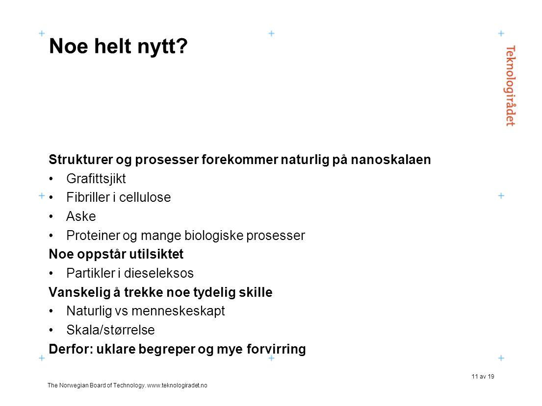 The Norwegian Board of Technology. www.teknologiradet.no 11 av 19 Noe helt nytt? Strukturer og prosesser forekommer naturlig på nanoskalaen •Grafittsj
