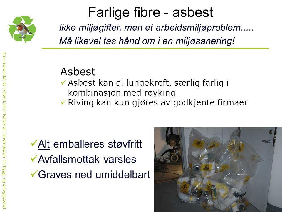 Kurs utarbeidet av nettverket for Nasjonal handlingsplan for bygg- og anleggsavfall Farlige fibre - asbest Ikke miljøgifter, men et arbeidsmiljøproblem.....