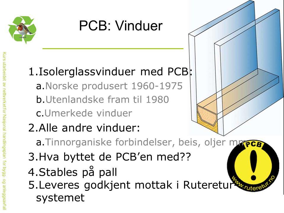 Kurs utarbeidet av nettverket for Nasjonal handlingsplan for bygg- og anleggsavfall PCB: Vinduer 1.Isolerglassvinduer med PCB: a.Norske produsert 1960