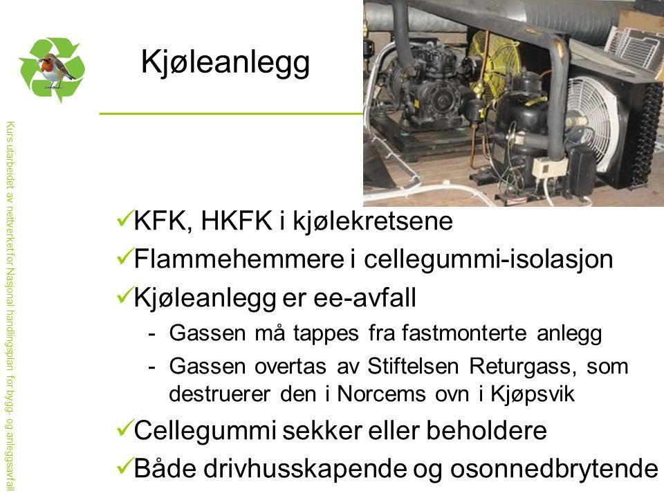 Kurs utarbeidet av nettverket for Nasjonal handlingsplan for bygg- og anleggsavfall Kjøleanlegg  KFK, HKFK i kjølekretsene  Flammehemmere i cellegummi-isolasjon  Kjøleanlegg er ee-avfall -Gassen må tappes fra fastmonterte anlegg -Gassen overtas av Stiftelsen Returgass, som destruerer den i Norcems ovn i Kjøpsvik  Cellegummi sekker eller beholdere  Både drivhusskapende og osonnedbrytende