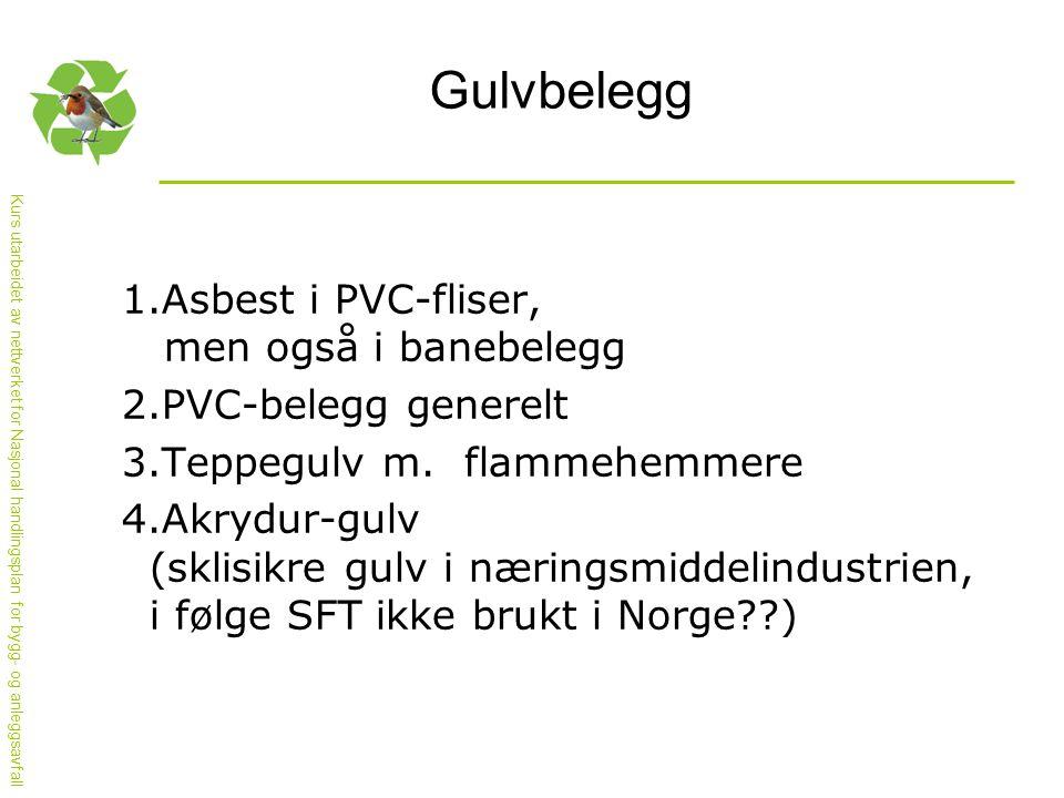 Kurs utarbeidet av nettverket for Nasjonal handlingsplan for bygg- og anleggsavfall Gulvbelegg 1.Asbest i PVC-fliser, men også i banebelegg 2.PVC-belegg generelt 3.Teppegulv m.
