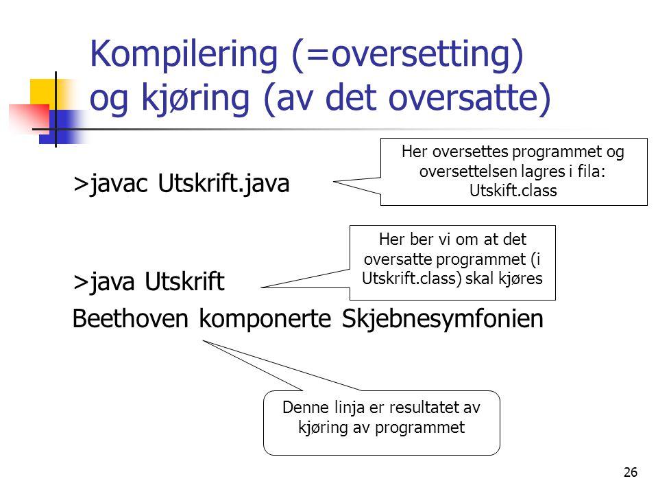 26 Kompilering (=oversetting) og kjøring (av det oversatte) >javac Utskrift.java >java Utskrift Beethoven komponerte Skjebnesymfonien Her oversettes p