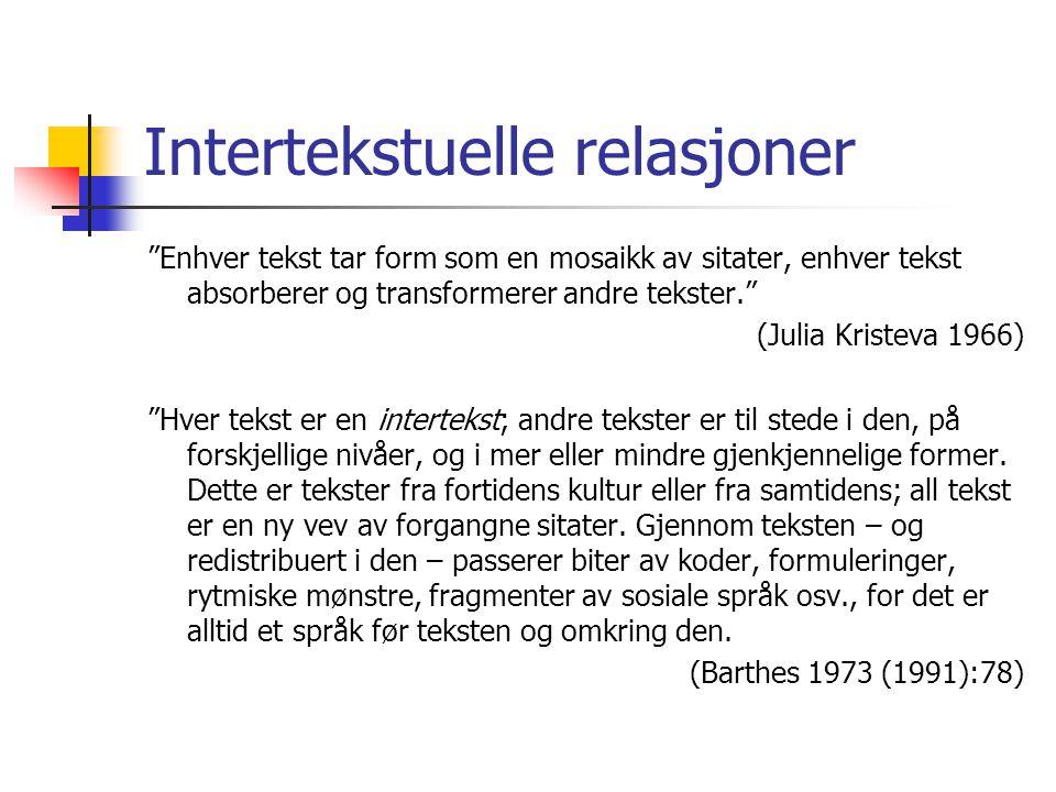 """Intertekstuelle relasjoner """"Enhver tekst tar form som en mosaikk av sitater, enhver tekst absorberer og transformerer andre tekster."""" (Julia Kristeva"""