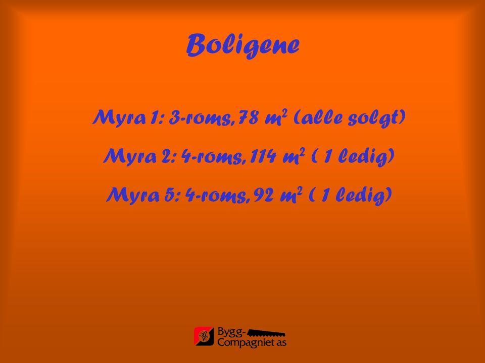 Myra 1: 3-roms, 78 m 2 (alle solgt) Myra 2: 4-roms, 114 m 2 ( 1 ledig) Myra 5: 4-roms, 92 m 2 ( 1 ledig) Boligene