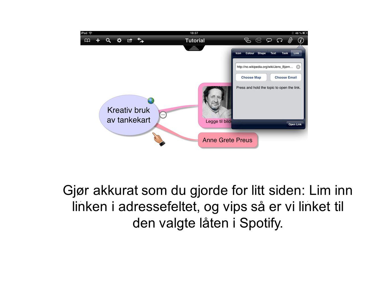Gjør akkurat som du gjorde for litt siden: Lim inn linken i adressefeltet, og vips så er vi linket til den valgte låten i Spotify.