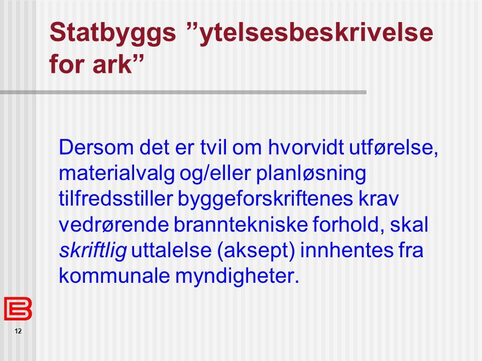 """12 Statbyggs """"ytelsesbeskrivelse for ark"""" Dersom det er tvil om hvorvidt utførelse, materialvalg og/eller planløsning tilfredsstiller byggeforskriften"""