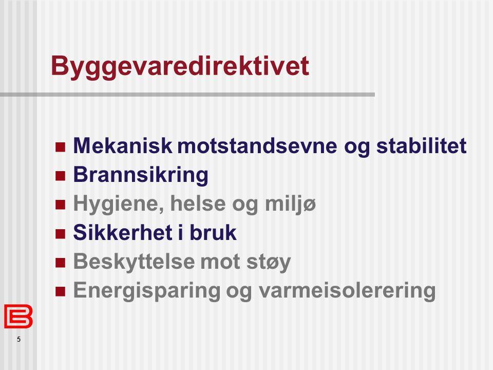 5 Byggevaredirektivet  Mekanisk motstandsevne og stabilitet  Brannsikring  Hygiene, helse og miljø  Sikkerhet i bruk  Beskyttelse mot støy  Ener
