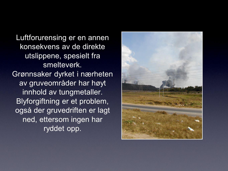 Luftforurensing er en annen konsekvens av de direkte utslippene, spesielt fra smelteverk.