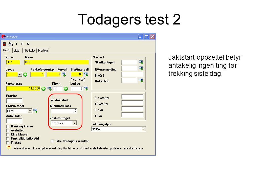 Todagers test 2 Jaktstart-oppsettet betyr antakelig ingen ting før trekking siste dag.