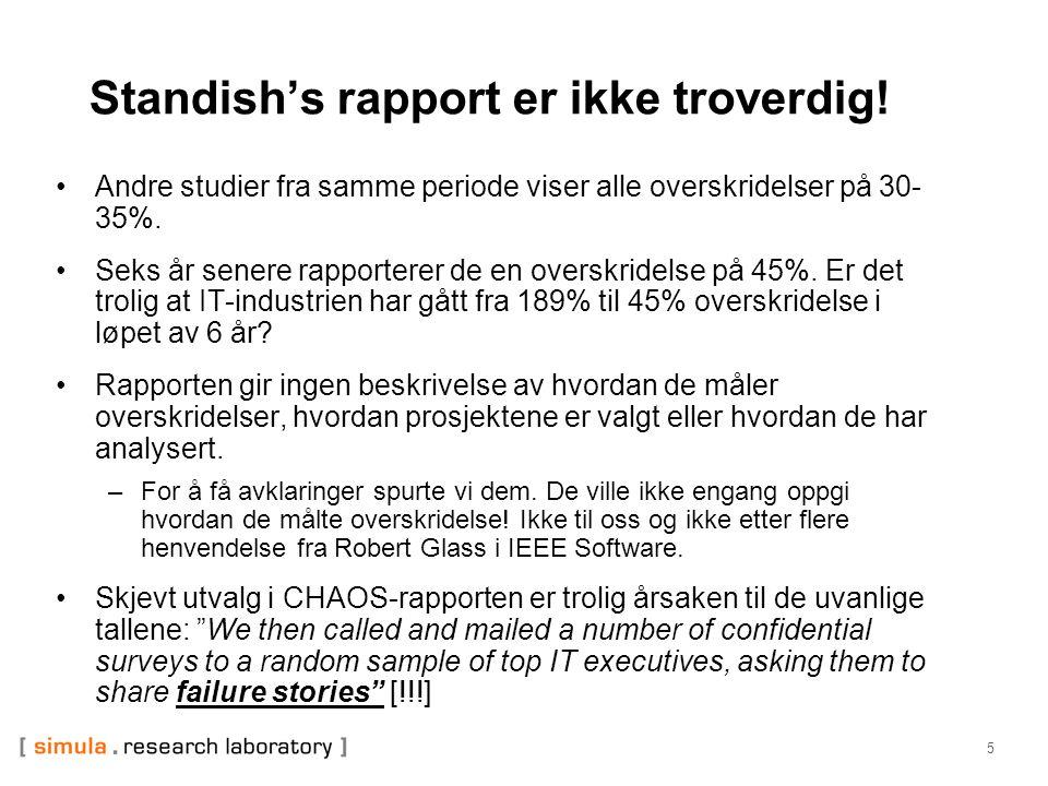 5 Standish's rapport er ikke troverdig! •Andre studier fra samme periode viser alle overskridelser på 30- 35%. •Seks år senere rapporterer de en overs