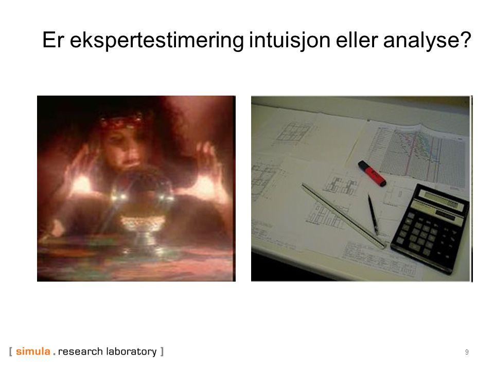 9 Er ekspertestimering intuisjon eller analyse?