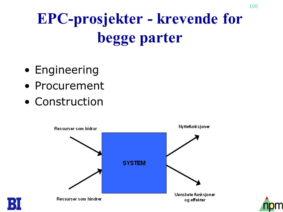 100 EPC-prosjekter - krevende for begge parter •Engineering •Procurement •Construction