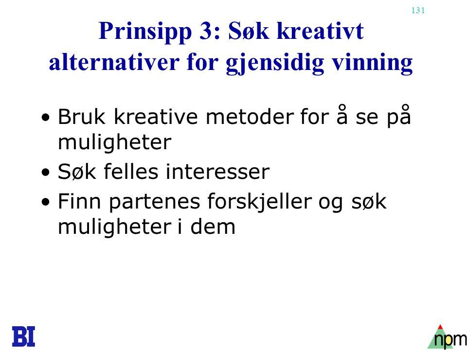 131 Prinsipp 3: Søk kreativt alternativer for gjensidig vinning •Bruk kreative metoder for å se på muligheter •Søk felles interesser •Finn partenes fo