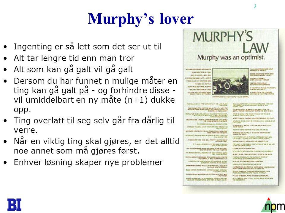3 Murphy's lover •Ingenting er så lett som det ser ut til •Alt tar lengre tid enn man tror •Alt som kan gå galt vil gå galt •Dersom du har funnet n mu