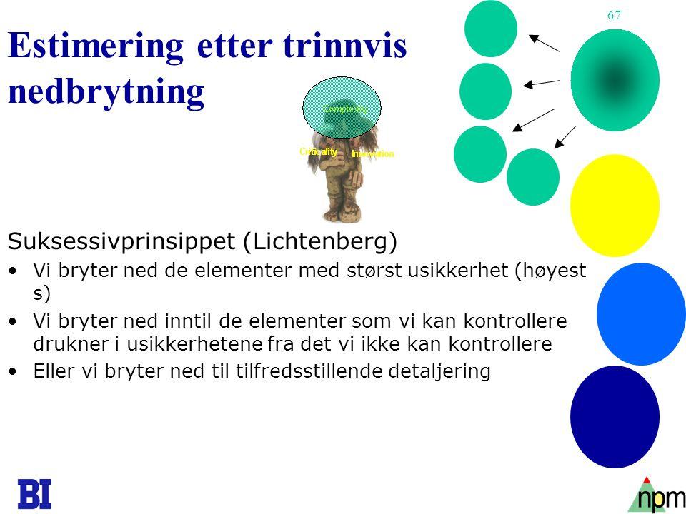 67 Estimering etter trinnvis nedbrytning Suksessivprinsippet (Lichtenberg) •Vi bryter ned de elementer med størst usikkerhet (høyest s) •Vi bryter ned