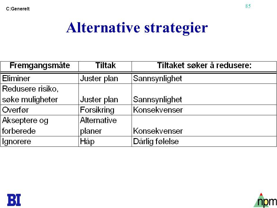 85 Alternative strategier C:Generelt