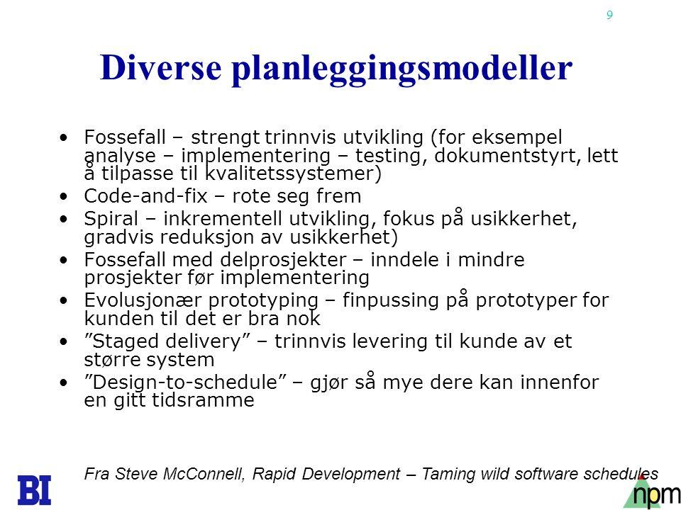 9 Diverse planleggingsmodeller •Fossefall – strengt trinnvis utvikling (for eksempel analyse – implementering – testing, dokumentstyrt, lett å tilpass