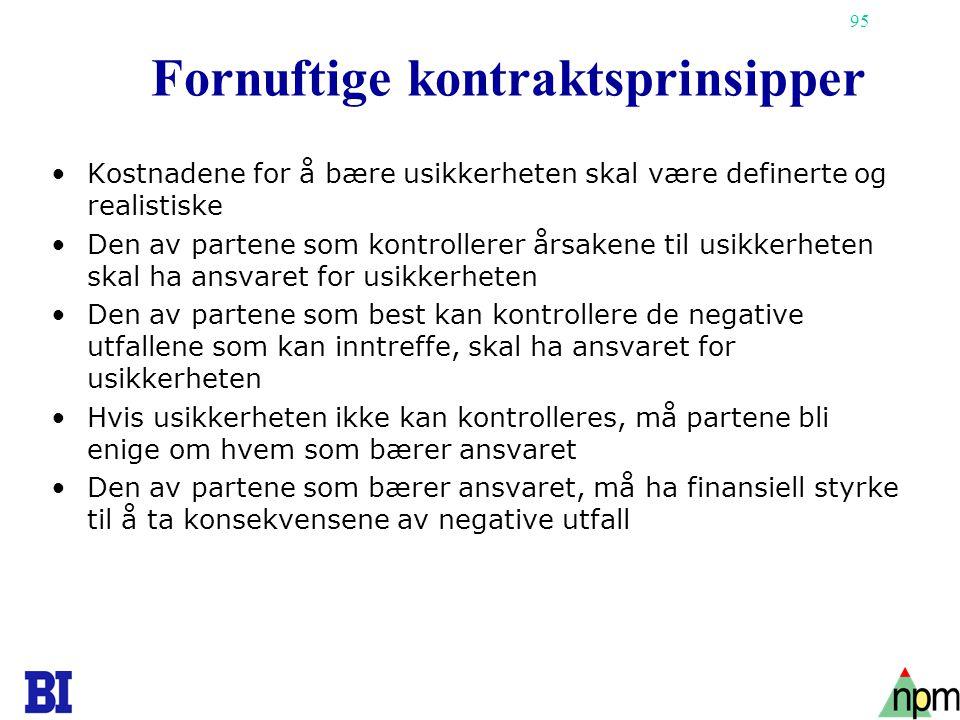 95 Fornuftige kontraktsprinsipper •Kostnadene for å bære usikkerheten skal være definerte og realistiske •Den av partene som kontrollerer årsakene til
