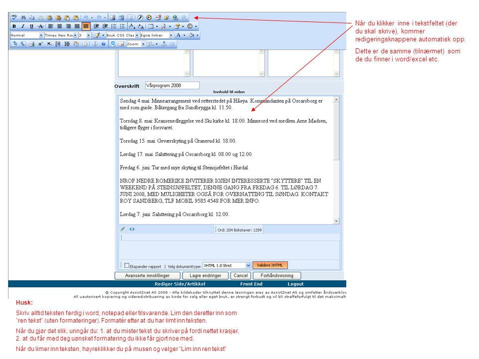Når du klikker inne i tekstfeltet (der du skal skrive), kommer redigeringsknappene automatisk opp. Dette er de samme (tilnærmet) som de du finner i wo