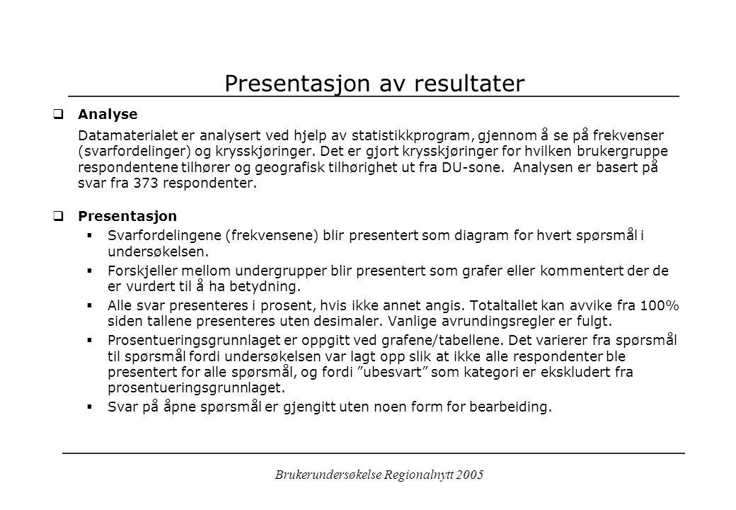 2005 Brukerundersøkelse Regionalnytt 2005 Presentasjon av resultater  Analyse Datamaterialet er analysert ved hjelp av statistikkprogram, gjennom å se på frekvenser (svarfordelinger) og krysskjøringer.