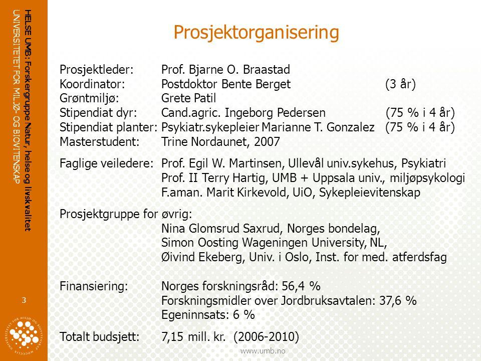 UNIVERSITETET FOR MILJØ- OG BIOVITENSKAP www.umb.no HELSE UMB: Forskergruppe Natur, helse og livskvalitet 3 Prosjektorganisering Prosjektleder:Prof.