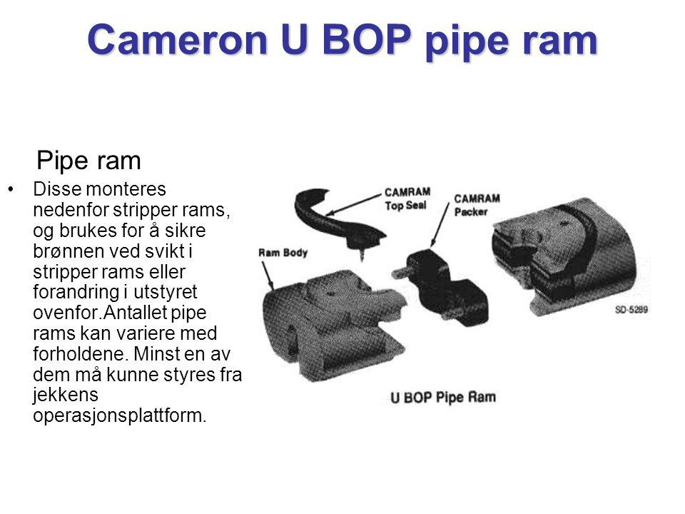 Cameron U BOP pipe ram Pipe ram •Disse monteres nedenfor stripper rams, og brukes for å sikre brønnen ved svikt i stripper rams eller forandring i utstyret ovenfor.Antallet pipe rams kan variere med forholdene.
