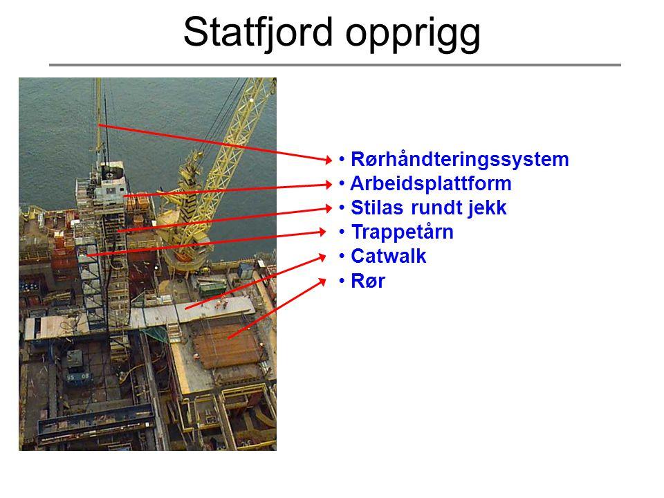 • Rørhåndteringssystem • Arbeidsplattform • Stilas rundt jekk • Trappetårn • Catwalk • Rør Statfjord opprigg