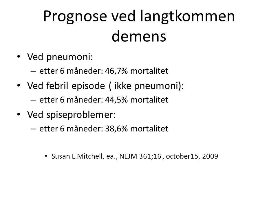 Prognose ved langtkommen demens • Ved pneumoni: – etter 6 måneder: 46,7% mortalitet • Ved febril episode ( ikke pneumoni): – etter 6 måneder: 44,5% mo