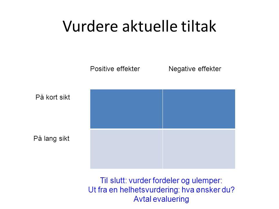 Vurdere aktuelle tiltak Positive effekterNegative effekter På kort sikt På lang sikt Til slutt: vurder fordeler og ulemper: Ut fra en helhetsvurdering