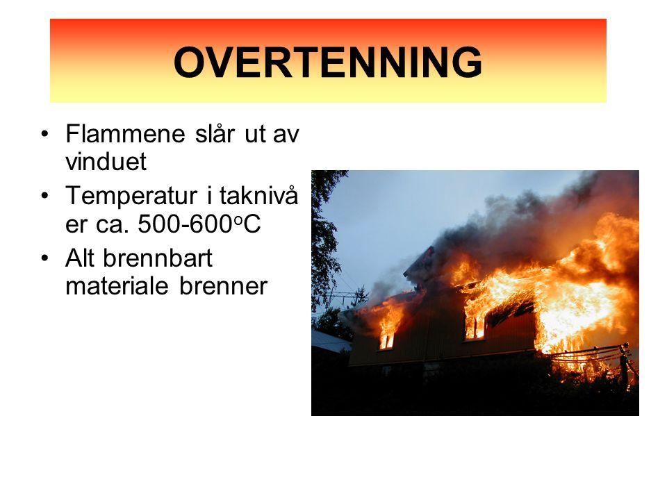 •Flammene slår ut av vinduet •Temperatur i taknivå er ca.