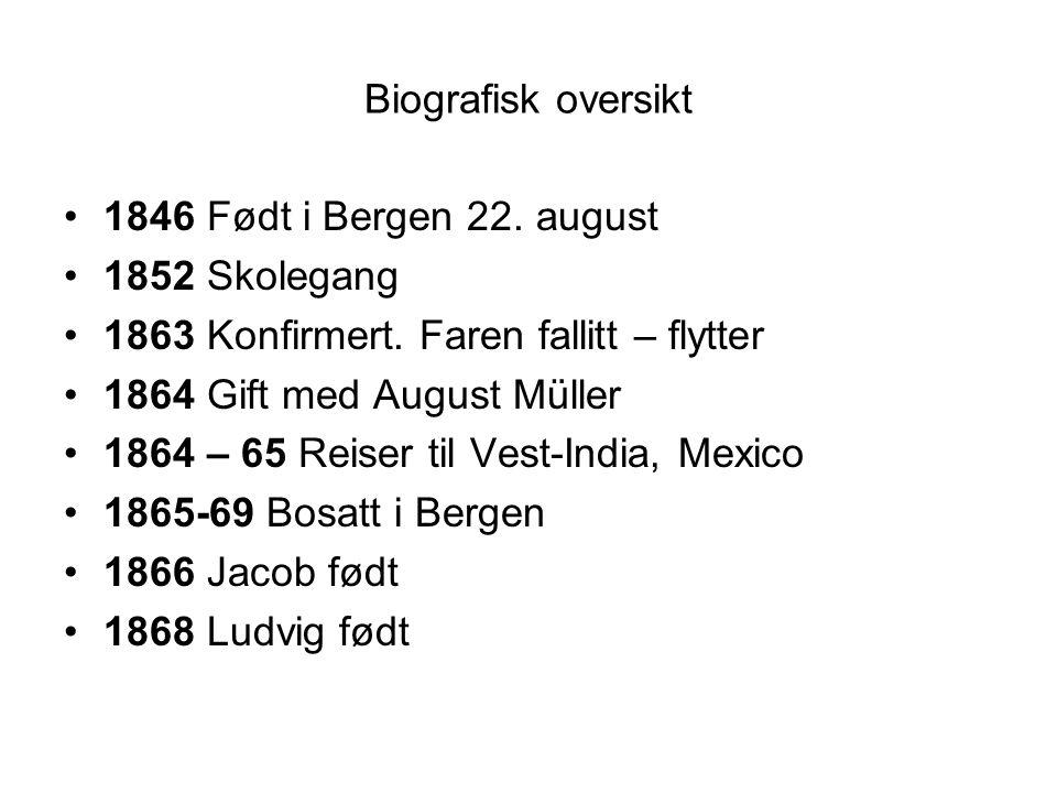 Biografisk oversikt •1846 Født i Bergen 22. august •1852 Skolegang •1863 Konfirmert. Faren fallitt – flytter •1864 Gift med August Müller •1864 – 65 R