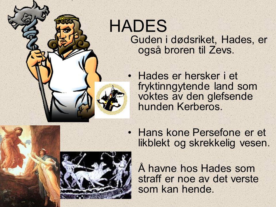 HADES Guden i dødsriket, Hades, er også broren til Zevs. •Hades er hersker i et fryktinngytende land som voktes av den glefsende hunden Kerberos. •Han