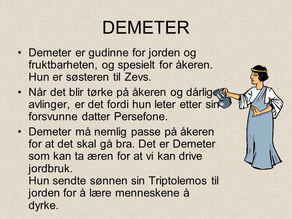 DEMETER •Demeter er gudinne for jorden og fruktbarheten, og spesielt for åkeren. Hun er søsteren til Zevs. •Når det blir tørke på åkeren og dårlige av